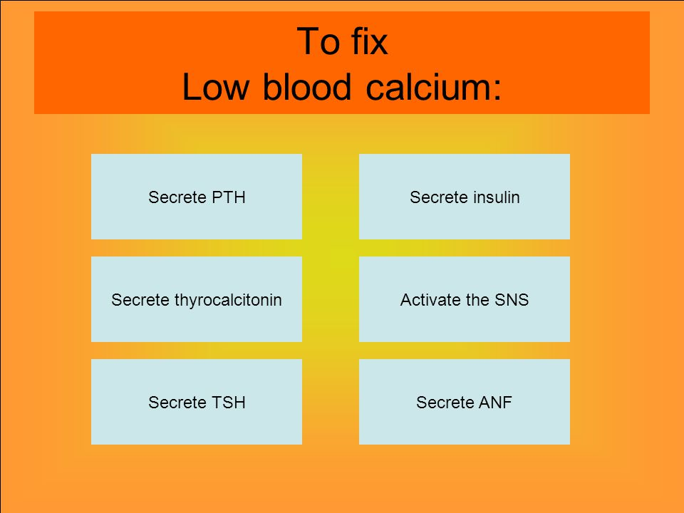 To fix Low blood calcium: Secrete PTH Secrete thyrocalcitonin Secrete TSHSecrete ANF Activate the SNS Secrete insulin