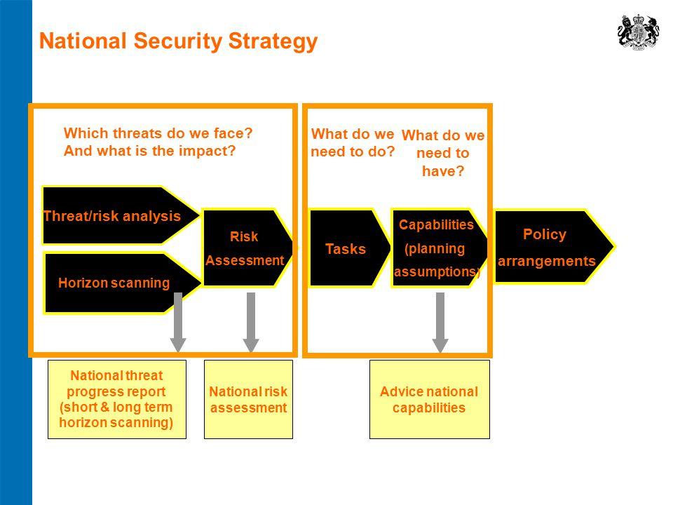 National threat progress report (short & long term horizon scanning) National risk assessment Advice national capabilities Horizon scanning Risk Asses