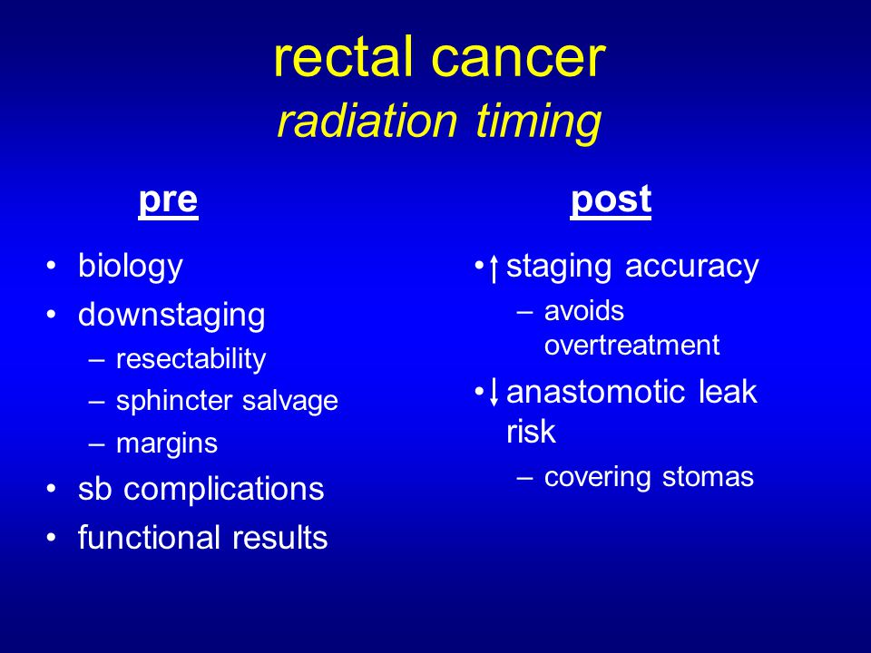 rectal cancer radiation timing biology downstaging –resectability –sphincter salvage –margins sb complications functional results staging accuracy –avoids overtreatment anastomotic leak risk –covering stomas prepost