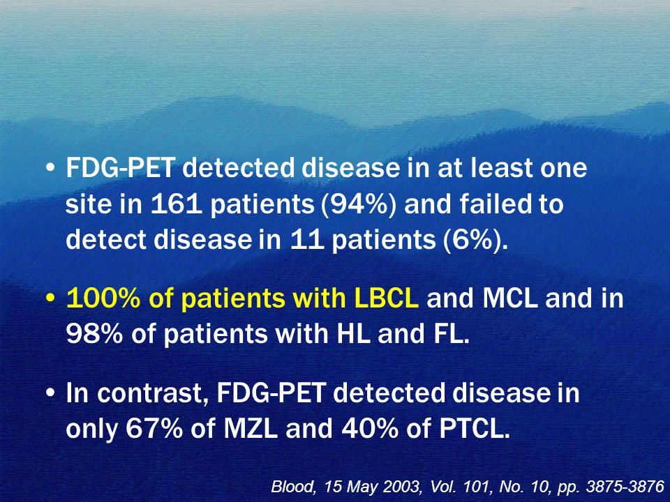 FDG-PET detected disease in at least one site in 161 patients (94%) and failed to detect disease in 11 patients (6%). 100% of patients with LBCL and M