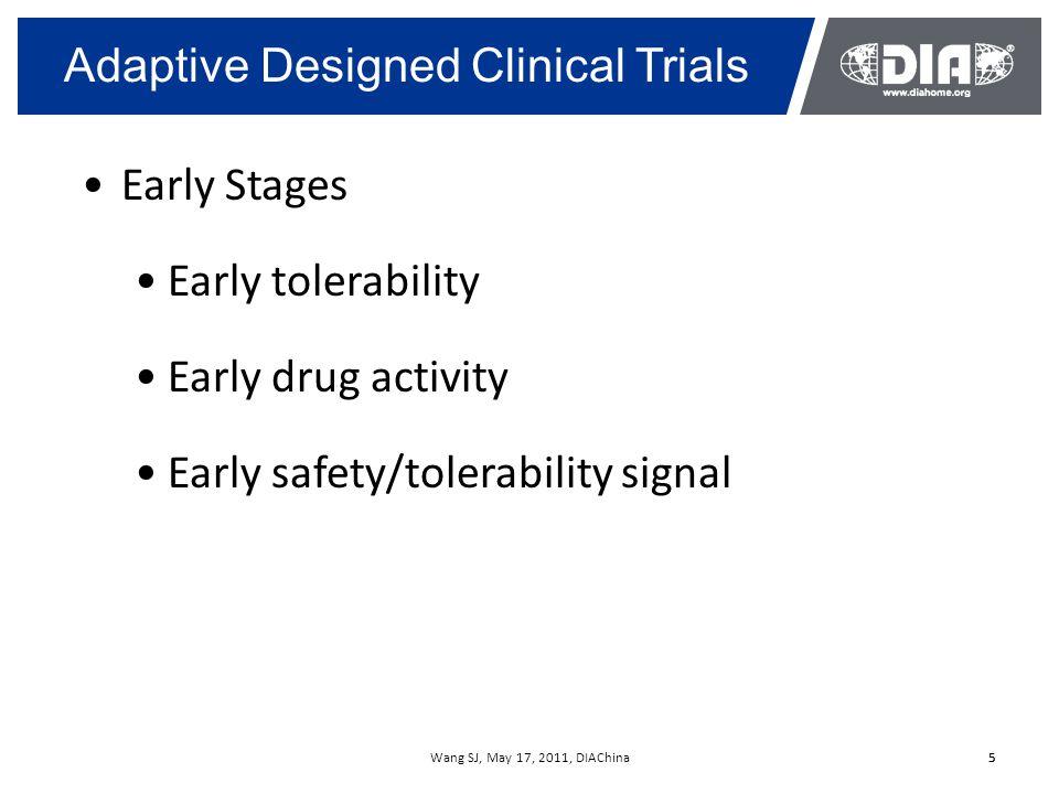 Wang SJ, May 17, 2011, DIAChina16 Key components for a successful Adaptive Design Trial