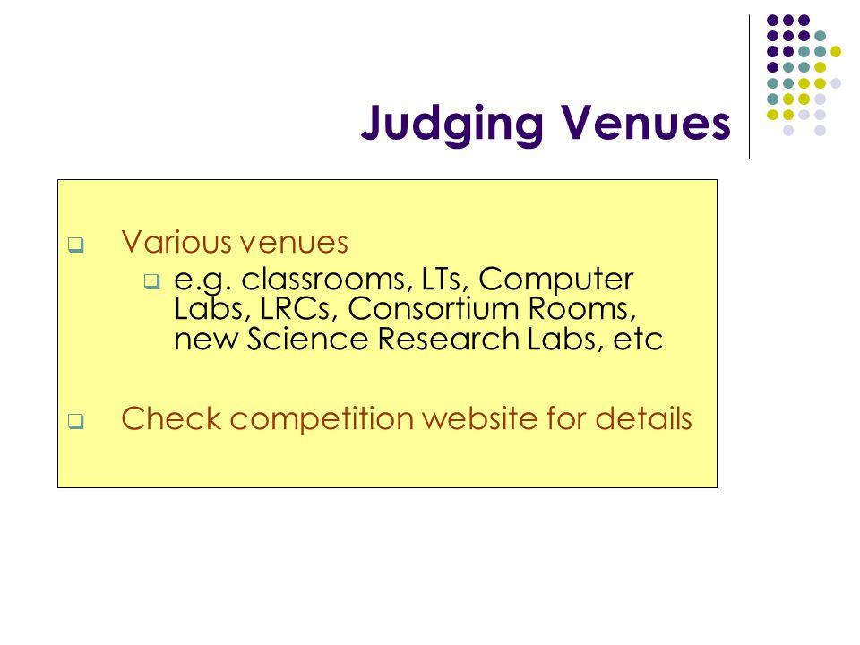 Judging Venues  Various venues  e.g.