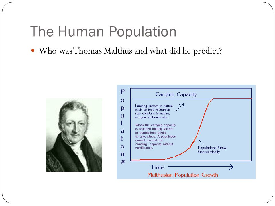 The Human Population Who was Thomas Malthus and what did he predict?