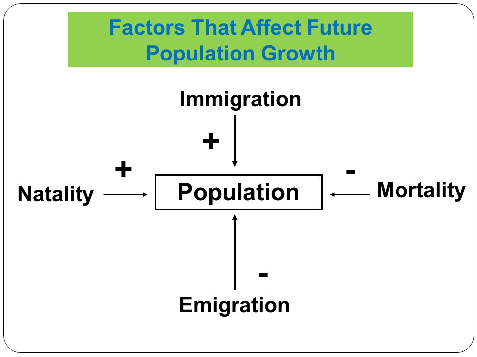 Immigration Emigration Natality Mortality Population + + - - Factors That Affect Future Population Growth