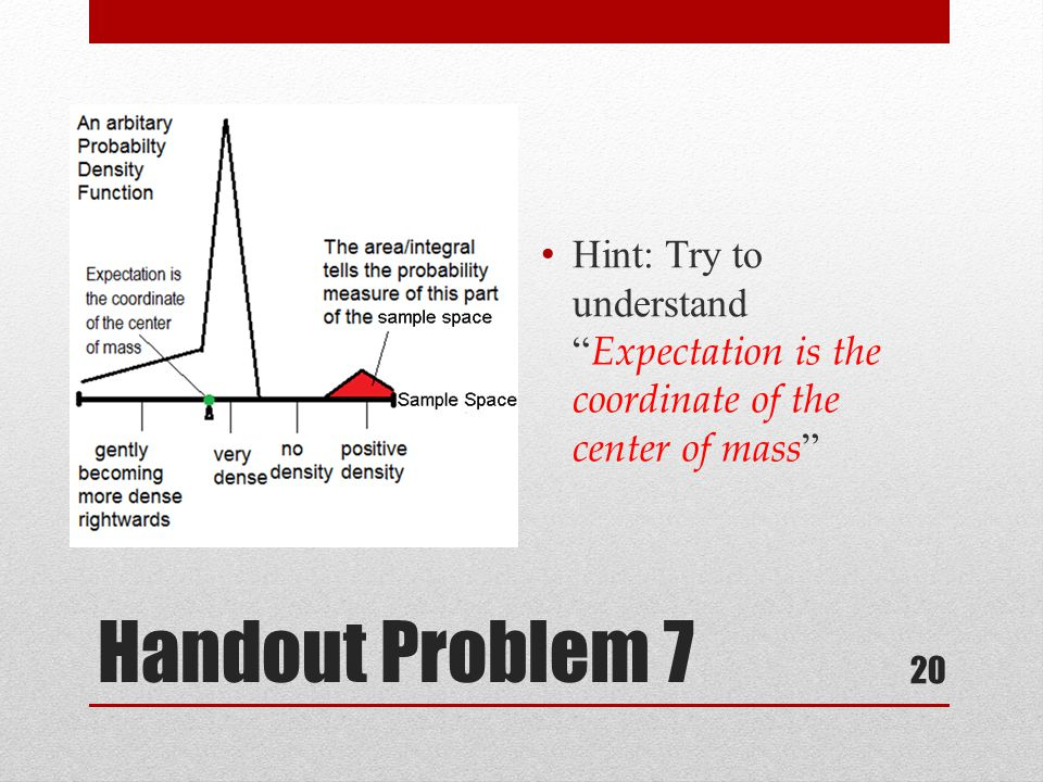 Handout Problem 7 Hint: Try to understand Expectation is the coordinate of the center of mass 20