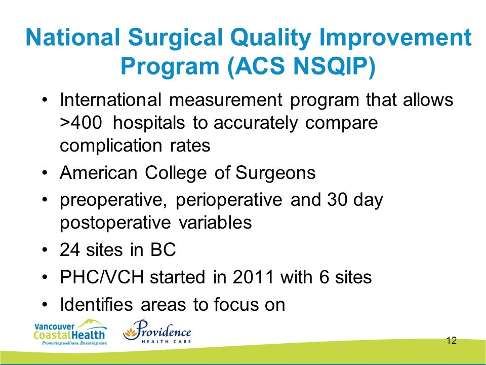 National Surgical Quality Improvement Program (ACS NSQIP) International measurement program that allows >400 hospitals to accurately compare complication rates American College of Surgeons preoperative, perioperative and 30 day postoperative variables 24 sites in BC PHC/VCH started in 2011 with 6 sites Identifies areas to focus on 12