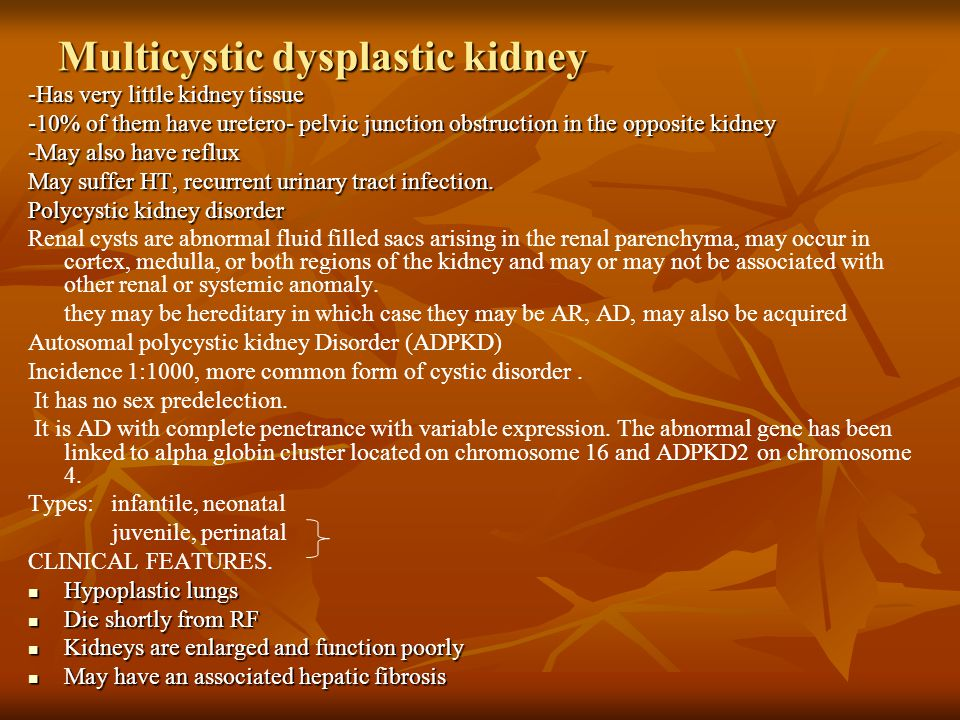 Multicystic dysplastic kidney -Has very little kidney tissue -10% of them have uretero- pelvic junction obstruction in the opposite kidney -May also have reflux May suffer HT, recurrent urinary tract infection.
