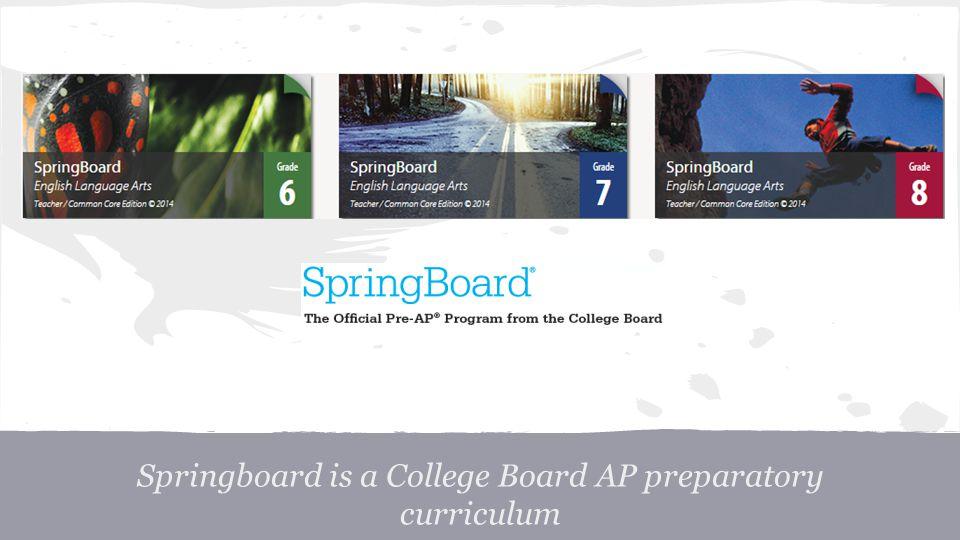 Springboard is a College Board AP preparatory curriculum
