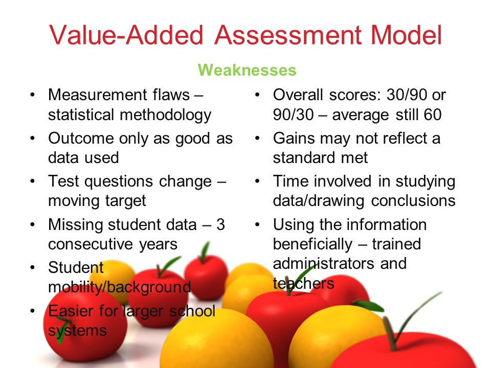 Value-Added Assessment Model Measurement flaws – statistical methodology Outcome only as good as data used Test questions change – moving target Missing student data – 3 consecutive years Student mobility/background Easier for larger school systems Weaknesses Overall scores: 30/90 or 90/30 – average still 60 Gains may not reflect a standard met Time involved in studying data/drawing conclusions Using the information beneficially – trained administrators and teachers