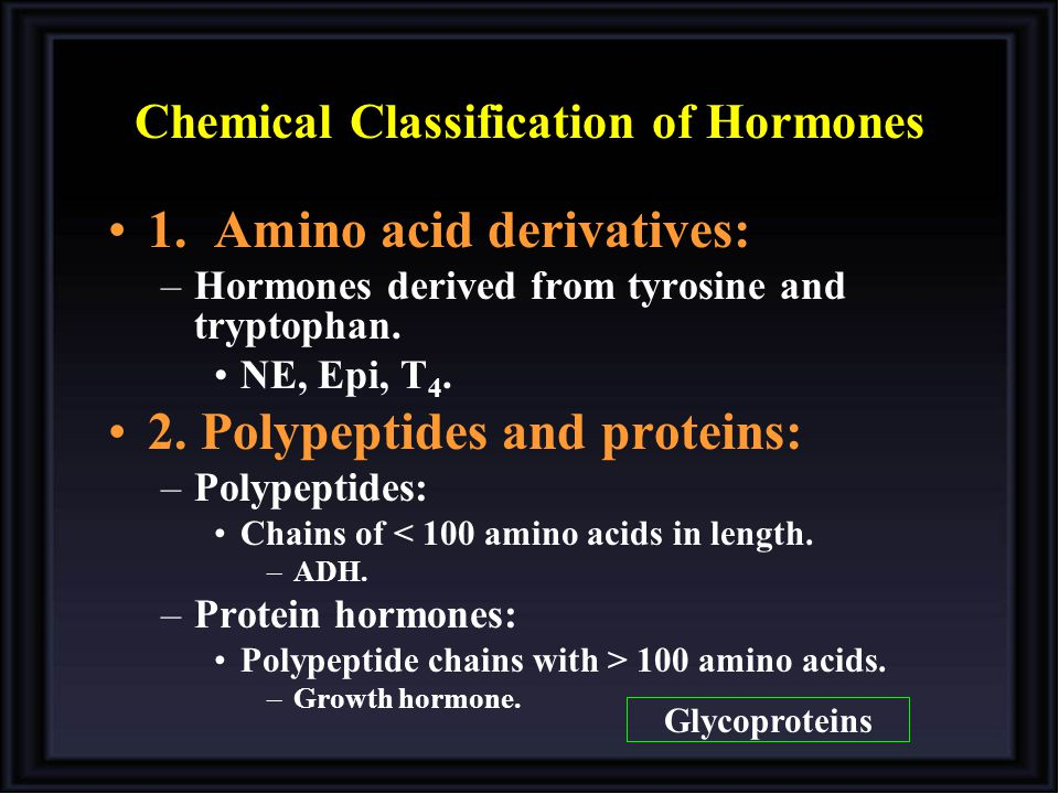 Chemical Classification of Hormones 1. Amino acid derivatives: –Hormones derived from tyrosine and tryptophan. NE, Epi, T 4. 2. Polypeptides and prote