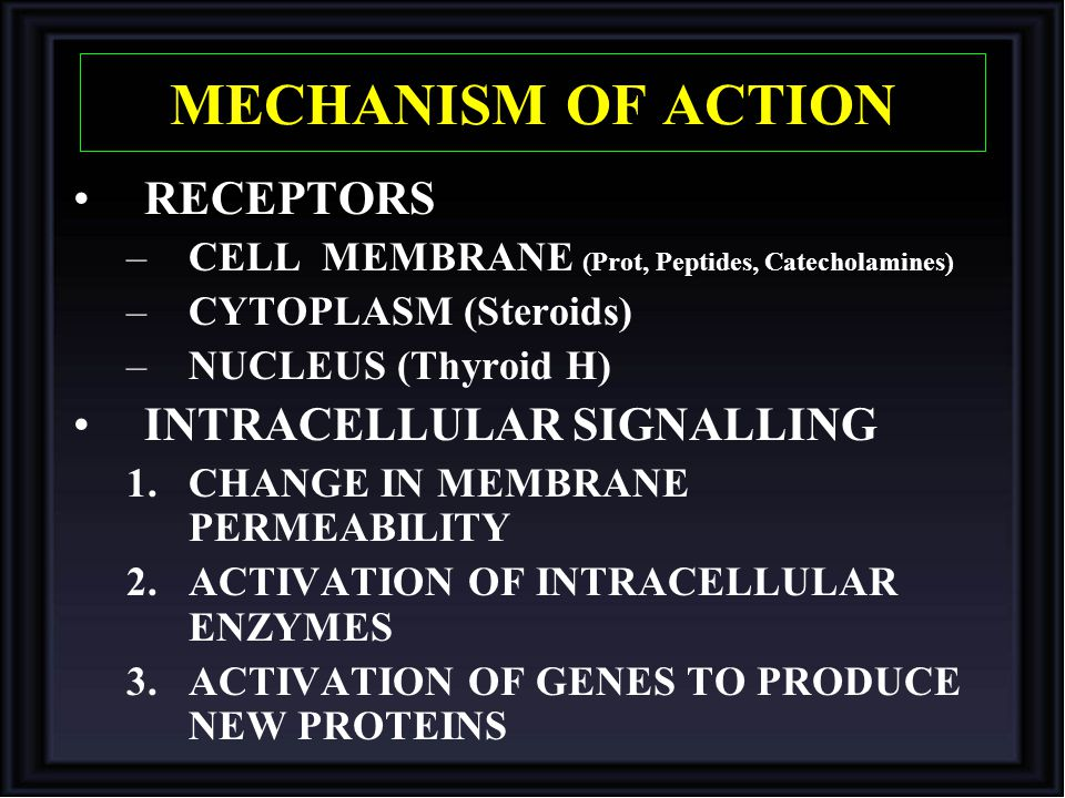 MECHANISM OF ACTION RECEPTORS –CELL MEMBRANE (Prot, Peptides, Catecholamines) –CYTOPLASM (Steroids) –NUCLEUS (Thyroid H) INTRACELLULAR SIGNALLING 1.CH