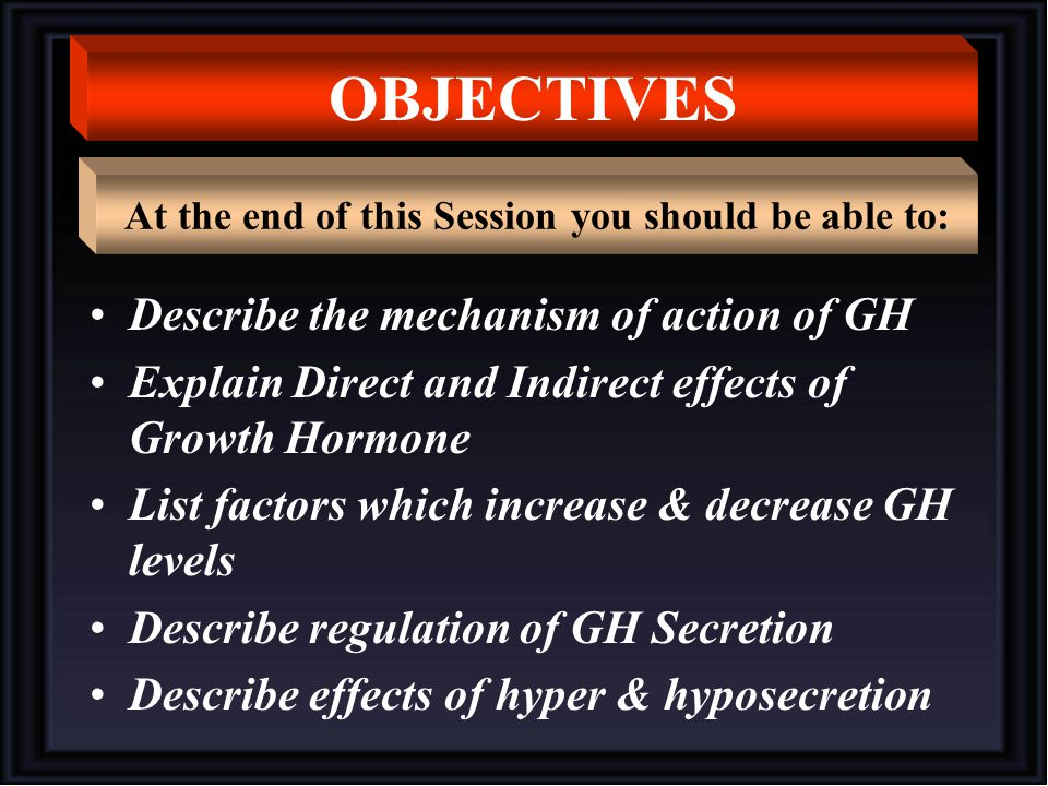Describe the mechanism of action of GH Explain Direct and Indirect effects of Growth Hormone List factors which increase & decrease GH levels Describe regulation of GH Secretion Describe effects of hyper & hyposecretion OBJECTIVES At the end of this Session you should be able to: