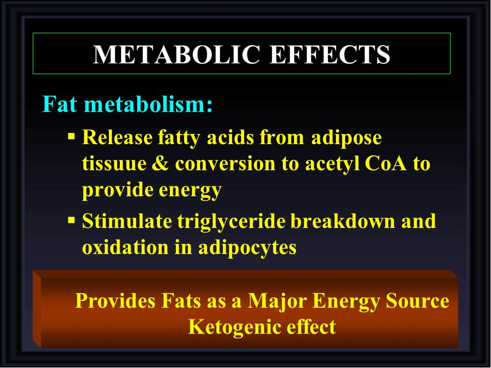 Fat metabolism:  Release fatty acids from adipose tissuue & conversion to acetyl CoA to provide energy  Stimulate triglyceride breakdown and oxidation in adipocytes Provides Fats as a Major Energy Source Ketogenic effect METABOLIC EFFECTS