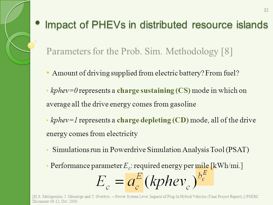Parameters for the Prob. Sim. Methodology [8] Amount of driving supplied from electric battery.