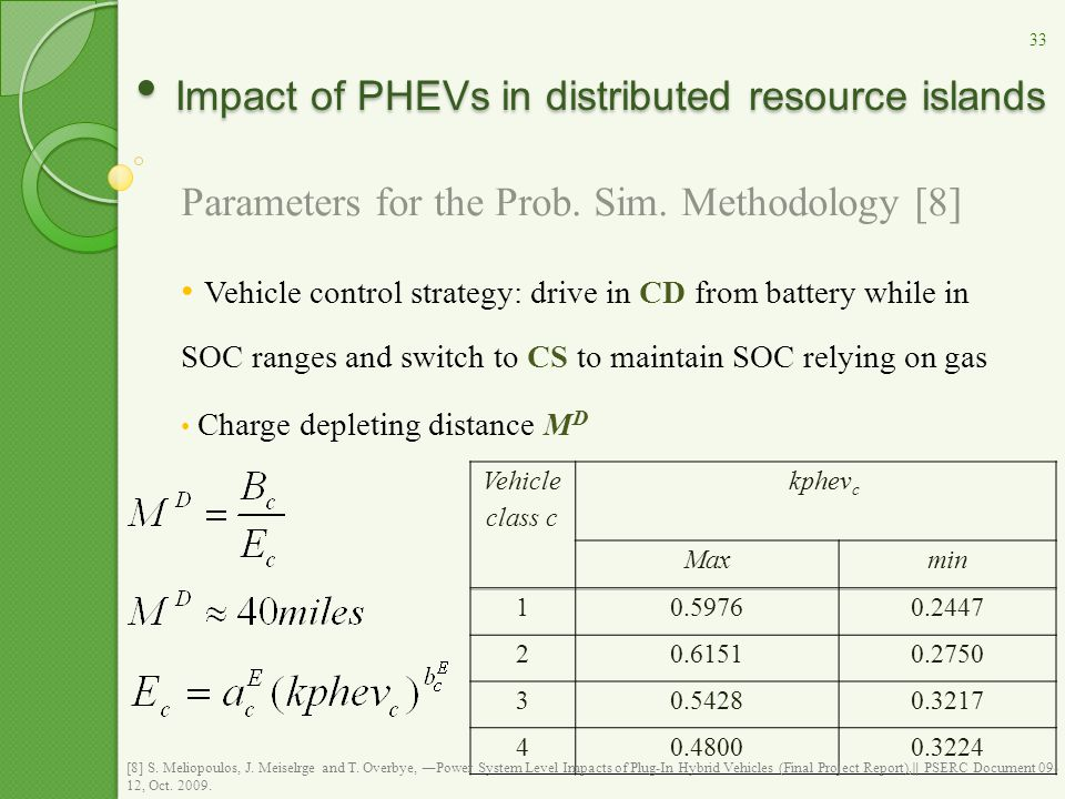 Impact of PHEVs in distributed resource islands Impact of PHEVs in distributed resource islands Parameters for the Prob.
