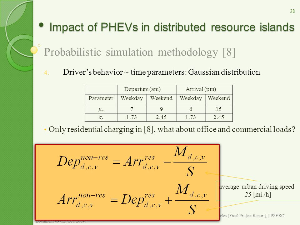 Impact of PHEVs in distributed resource islands Impact of PHEVs in distributed resource islands Probabilistic simulation methodology [8] 4. Driver's b
