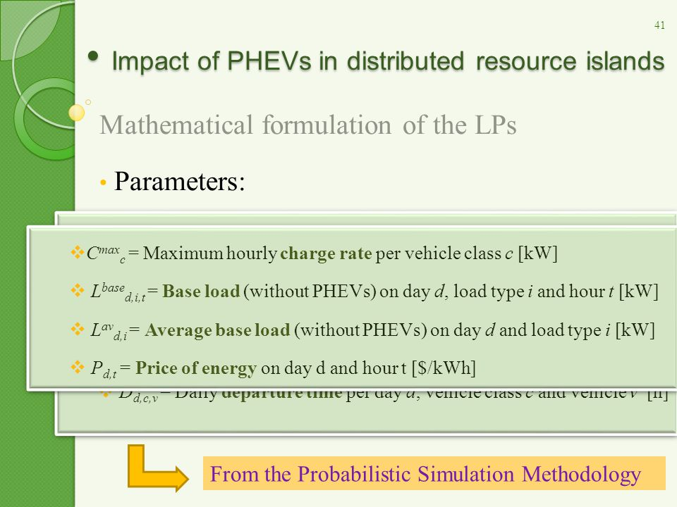 Impact of PHEVs in distributed resource islands Impact of PHEVs in distributed resource islands Mathematical formulation of the LPs Parameters:  B c = Battery size per vehicle class c [kWh]  DE d,c,v = Daily energy required per day d, vehicle class c and vehicle v [kWh]  A d,c,v = Daily arrival time per day d, vehicle class c and vehicle v [h]  D d,c,v = Daily departure time per day d, vehicle class c and vehicle v [h]  B c = Battery size per vehicle class c [kWh]  DE d,c,v = Daily energy required per day d, vehicle class c and vehicle v [kWh]  A d,c,v = Daily arrival time per day d, vehicle class c and vehicle v [h]  D d,c,v = Daily departure time per day d, vehicle class c and vehicle v [h] From the Probabilistic Simulation Methodology  C max c = Maximum hourly charge rate per vehicle class c [kW]  L base d,i,t = Base load (without PHEVs) on day d, load type i and hour t [kW]  L av d,i = Average base load (without PHEVs) on day d and load type i [kW]  P d,t = Price of energy on day d and hour t [$/kWh]  C max c = Maximum hourly charge rate per vehicle class c [kW]  L base d,i,t = Base load (without PHEVs) on day d, load type i and hour t [kW]  L av d,i = Average base load (without PHEVs) on day d and load type i [kW]  P d,t = Price of energy on day d and hour t [$/kWh] 41