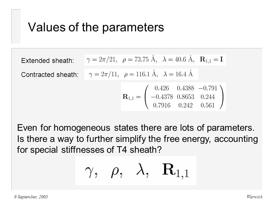 9 September, 2005Warwick Values of the parameters Extended sheath: Contracted sheath: Even for homogeneous states there are lots of parameters.