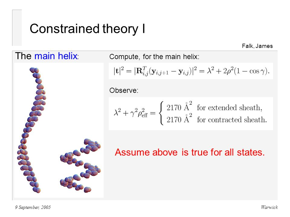 9 September, 2005Warwick Constrained theory I Falk, James Compute, for the main helix: The main helix : Observe: Assume above is true for all states.