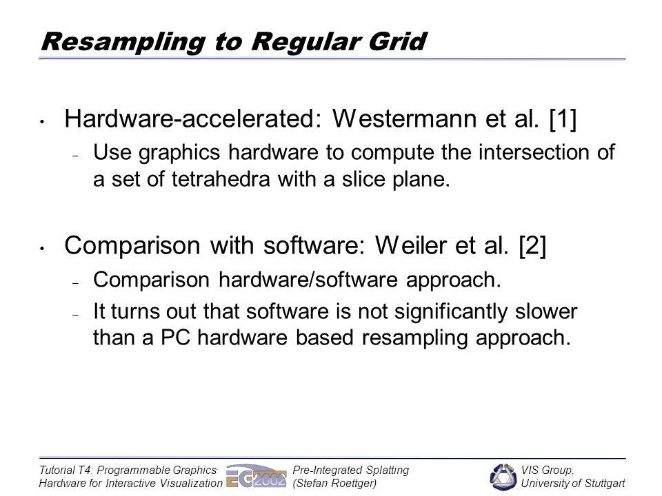 VIS Group, University of Stuttgart Tutorial T4: Programmable Graphics Hardware for Interactive Visualization Pre-Integrated Splatting (Stefan Roettger) Approximation of Stein et al.