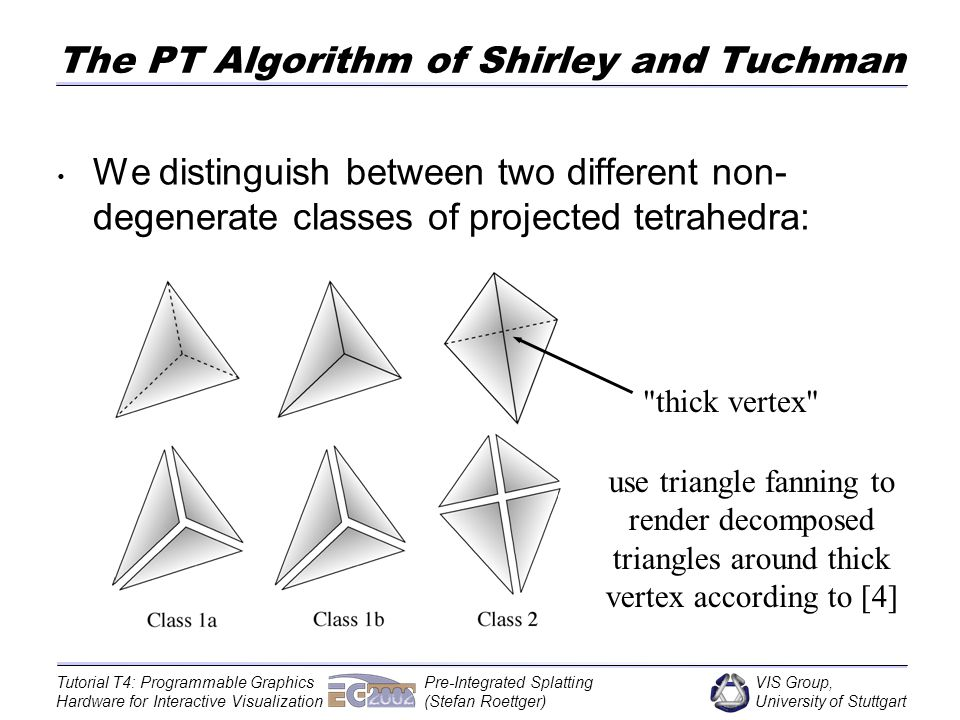 VIS Group, University of Stuttgart Tutorial T4: Programmable Graphics Hardware for Interactive Visualization Pre-Integrated Splatting (Stefan Roettger) The PT Algorithm of Shirley and Tuchman We distinguish between two different non- degenerate classes of projected tetrahedra: thick vertex use triangle fanning to render decomposed triangles around thick vertex according to [4]