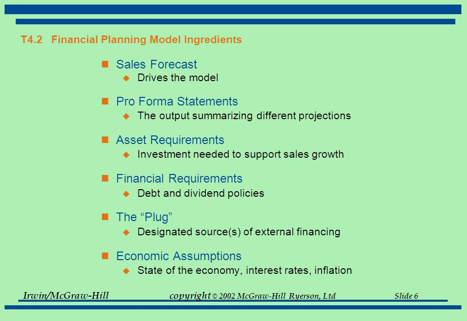 Irwin/McGraw-Hillcopyright © 2002 McGraw-Hill Ryerson, Ltd Slide 7 Financial Planning Models company specific and vary in complexity  computer models - often spreadsheet driven - internally developed  requires a set of assumptions consists of a series relationships between variables e.g  macro assumption between economic growth (GDP) and the firm's revenue  working capital investment and sales or revenue  relationship between certain expenses and revenues common elements  sales forecast  pro - forma statements  asset requirements  financial requirements  economic assumptions