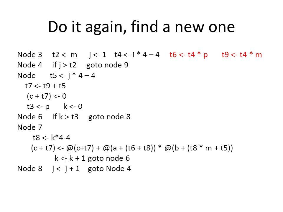 Do it again, find a new one Node 3 t2 <- m j <- 1 t4 <- i * 4 – 4 t6 <- t4 * p t9 <- t4 * m Node 4 if j > t2 goto node 9 Node t5 <- j * 4 – 4 t7 <- t9 + t5 (c + t7) <- 0 t3 <- p k <- 0 Node 6 If k > t3 goto node 8 Node 7 t8 <- k*4-4 (c + t7) <- @(c+t7) + @(a + (t6 + t8)) * @(b + (t8 * m + t5)) k <- k + 1 goto node 6 Node 8 j <- j + 1 goto Node 4