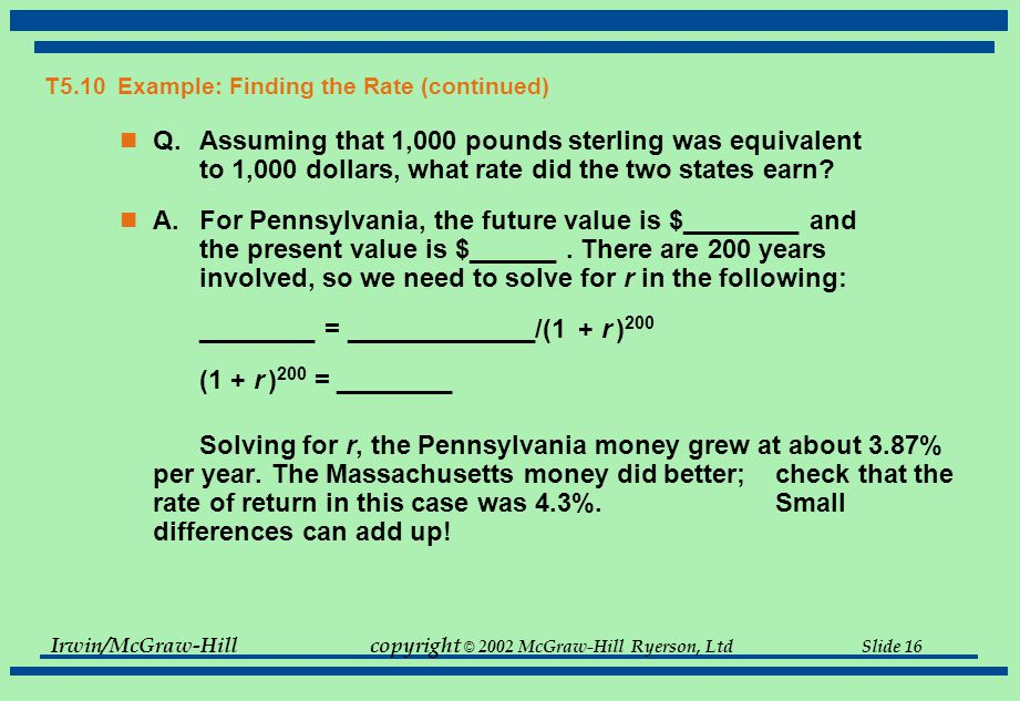 Irwin/McGraw-Hillcopyright © 2002 McGraw-Hill Ryerson, Ltd Slide 15 T5.10 Example: Finding the Rate Benjamin Franklin died on April 17, 1790.