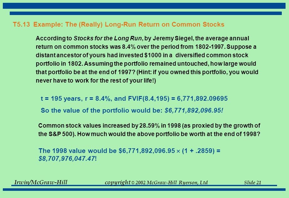 Irwin/McGraw-Hillcopyright © 2002 McGraw-Hill Ryerson, Ltd Slide 20 T5.13 Example: The (Really) Long-Run Return on Common Stocks According to Stocks for the Long Run, by Jeremy Siegel, the average annual compound rate of return on common stocks was 8.4% over the period from 1802-1997.