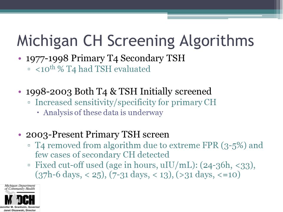 Michigan CH Screening Algorithms 1977-1998 Primary T4 Secondary TSH ▫<10 th % T4 had TSH evaluated 1998-2003 Both T4 & TSH Initially screened ▫Increased sensitivity/specificity for primary CH  Analysis of these data is underway 2003-Present Primary TSH screen ▫T4 removed from algorithm due to extreme FPR (3-5%) and few cases of secondary CH detected ▫Fixed cut-off used (age in hours, uIU/mL): (24-36h, 31 days, <=10)