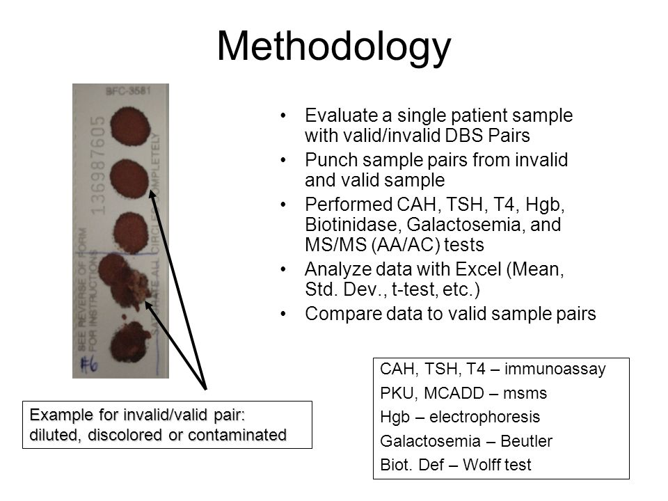 Methodology Evaluate a single patient sample with valid/invalid DBS Pairs Punch sample pairs from invalid and valid sample Performed CAH, TSH, T4, Hgb