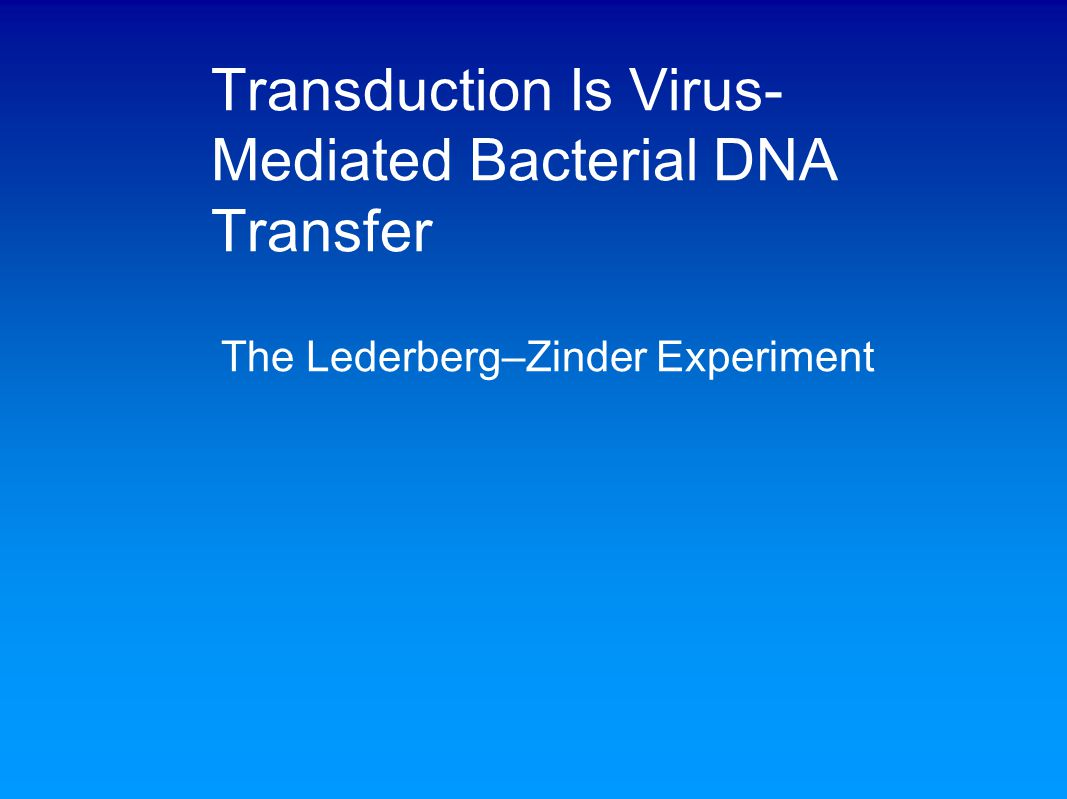 Transduction Is Virus- Mediated Bacterial DNA Transfer The Lederberg–Zinder Experiment