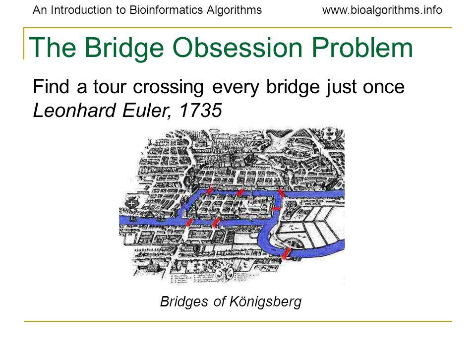 An Introduction to Bioinformatics Algorithmswww.bioalgorithms.info The Bridge Obsession Problem Bridges of Königsberg Find a tour crossing every bridge just once Leonhard Euler, 1735