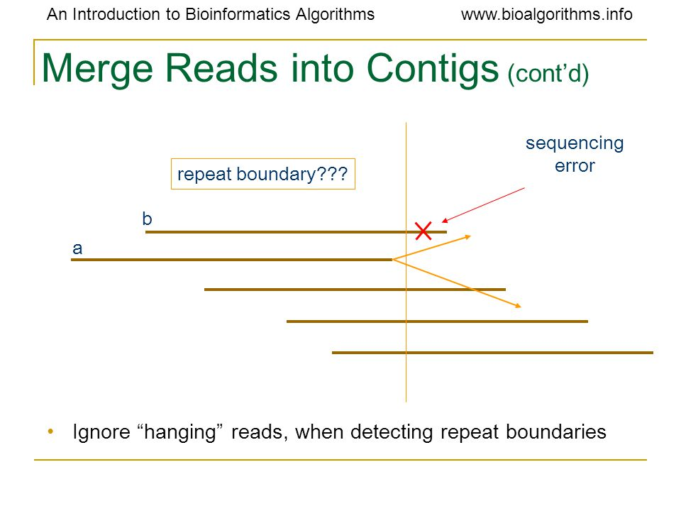 """An Introduction to Bioinformatics Algorithmswww.bioalgorithms.info Merge Reads into Contigs (cont'd) Ignore """"hanging"""" reads, when detecting repeat bou"""