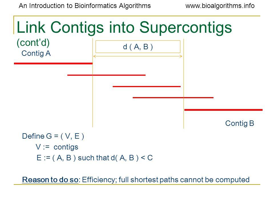 An Introduction to Bioinformatics Algorithmswww.bioalgorithms.info Link Contigs into Supercontigs (cont'd) Define G = ( V, E ) V := contigs E := ( A,