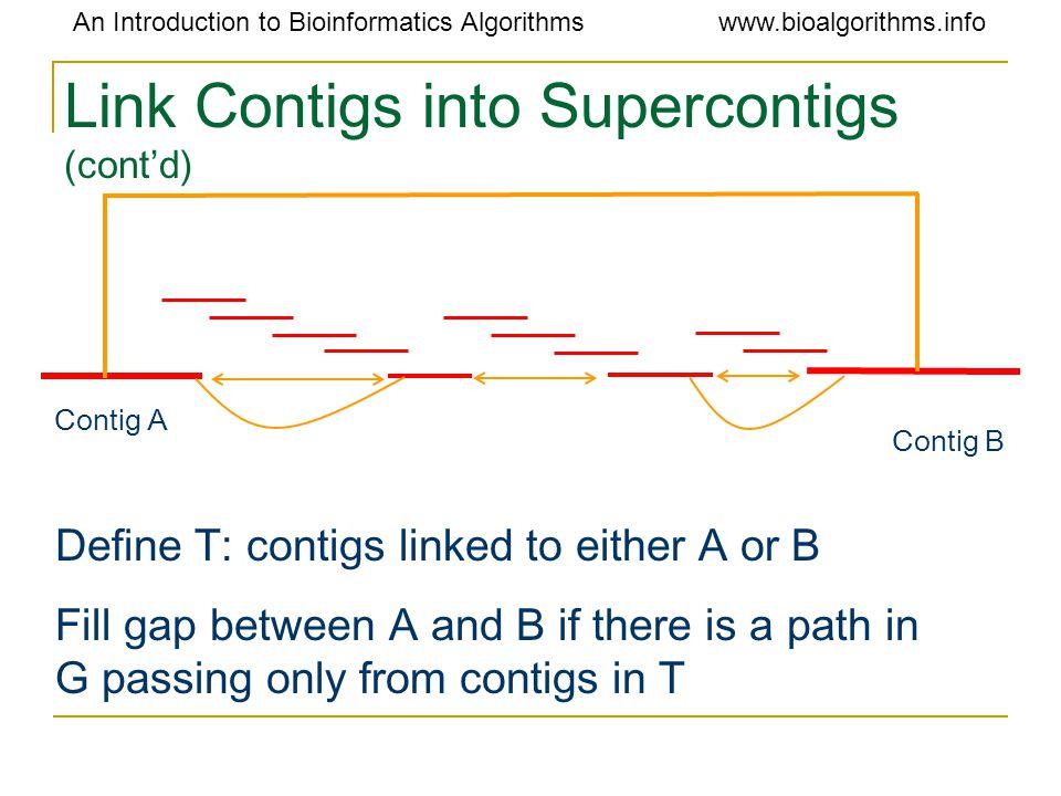 An Introduction to Bioinformatics Algorithmswww.bioalgorithms.info Link Contigs into Supercontigs (cont'd) Contig A Contig B Define T: contigs linked