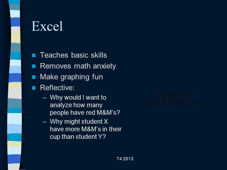 T4 2013 Excel Teaches basic skills Removes math anxiety Make graphing fun Reflective: –Why would I want to analyze how many people have red M&M's.