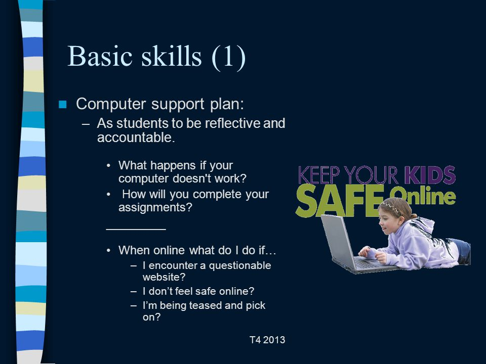 T4 2013 Basic skills (1) Computer support plan: –As students to be reflective and accountable.