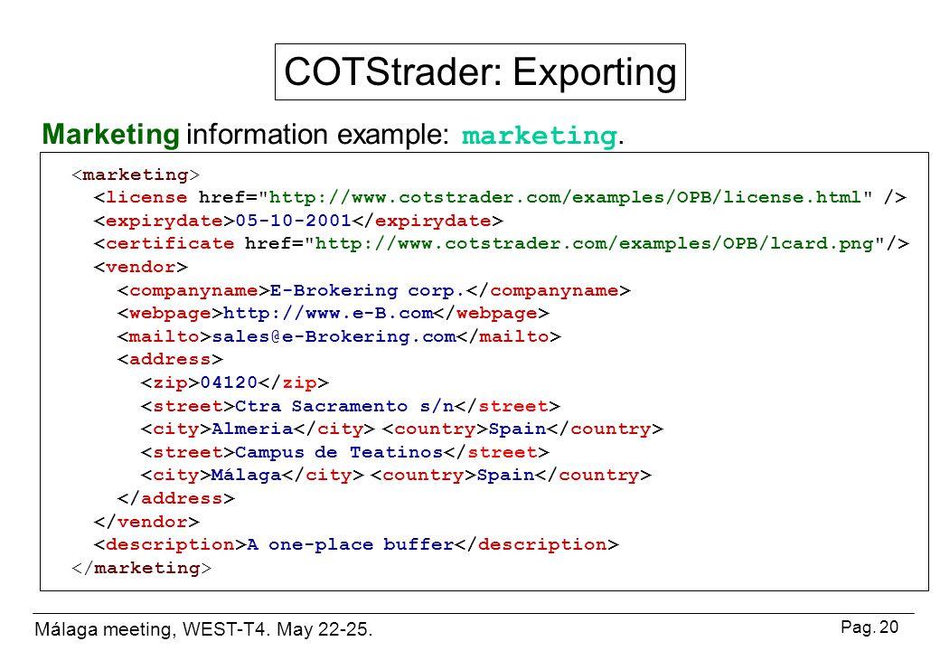 Málaga meeting, WEST-T4. May 22-25. Pag. 20 05-10-2001 E-Brokering corp.