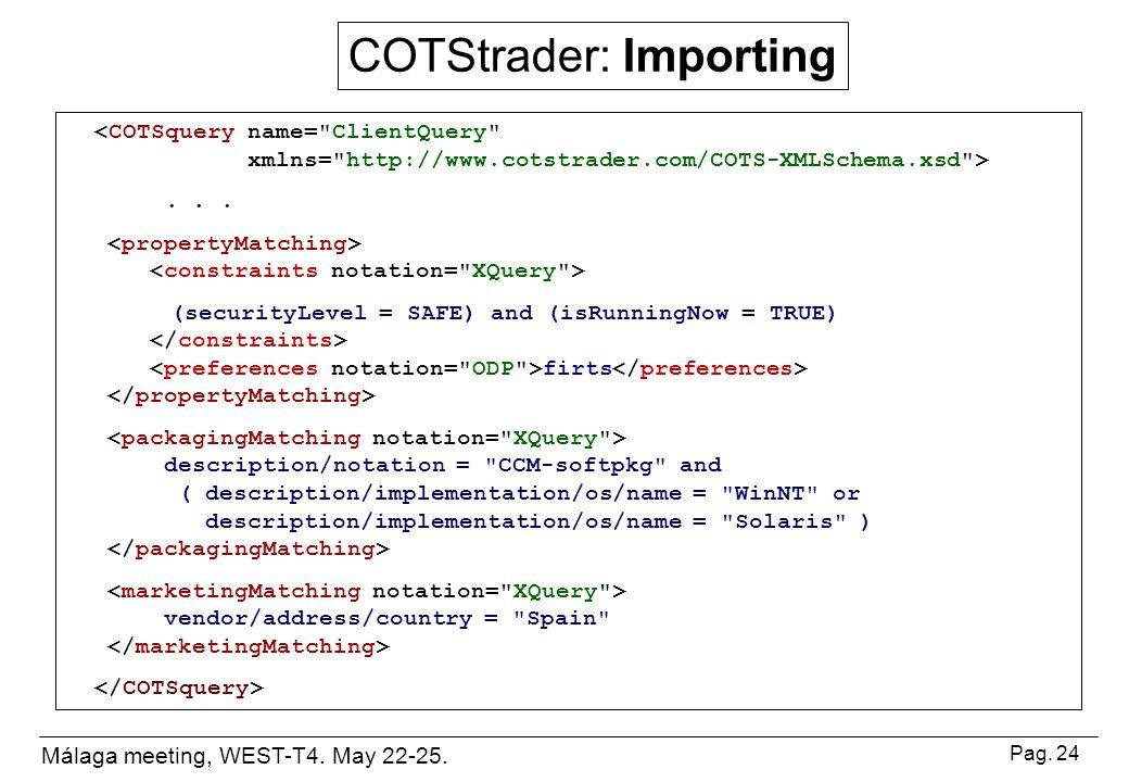 Málaga meeting, WEST-T4. May 22-25. Pag. 24 COTStrader: Importing...