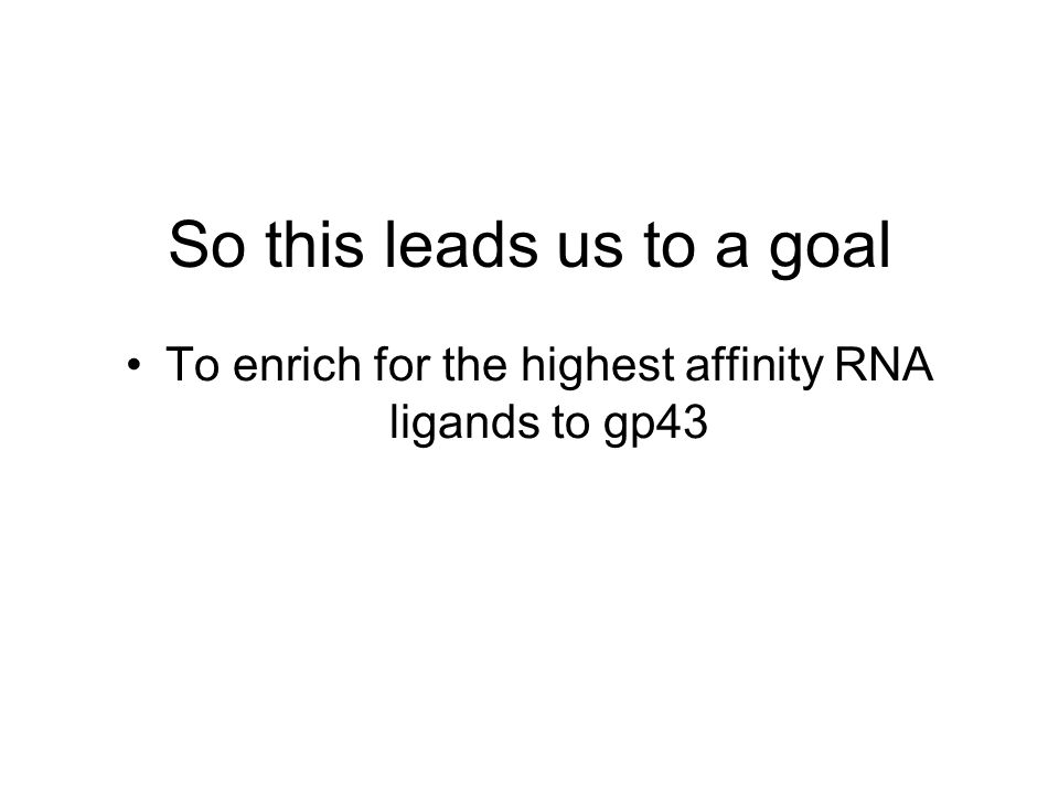 So this leads us to a goal To enrich for the highest affinity RNA ligands to gp43