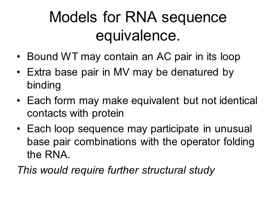 Models for RNA sequence equivalence.
