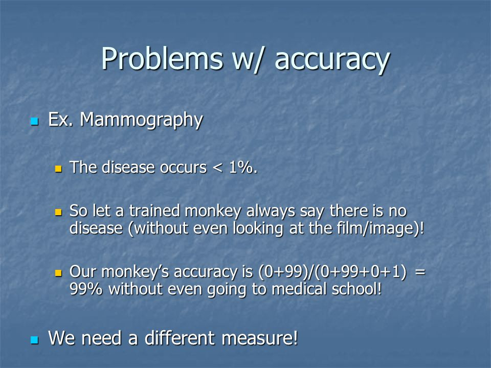 Problems w/ accuracy Ex. Mammography Ex. Mammography The disease occurs < 1%.