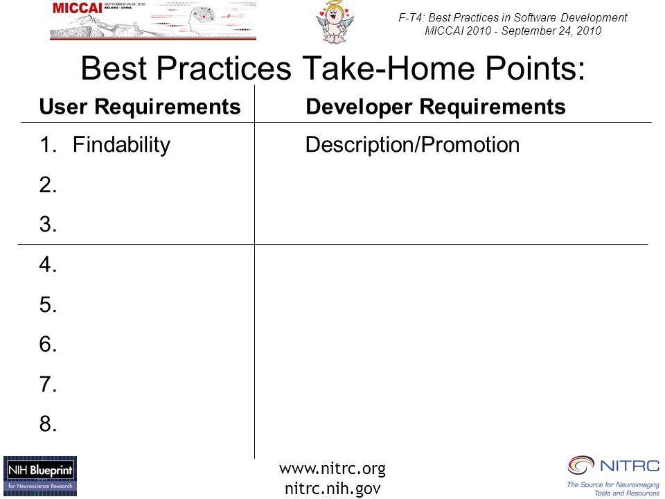 www.nitrc.org nitrc.nih.gov F-T4: Best Practices in Software Development MICCAI 2010 - September 24, 2010 Best Practices Take-Home Points: 1.FindabilityDescription/Promotion 2.
