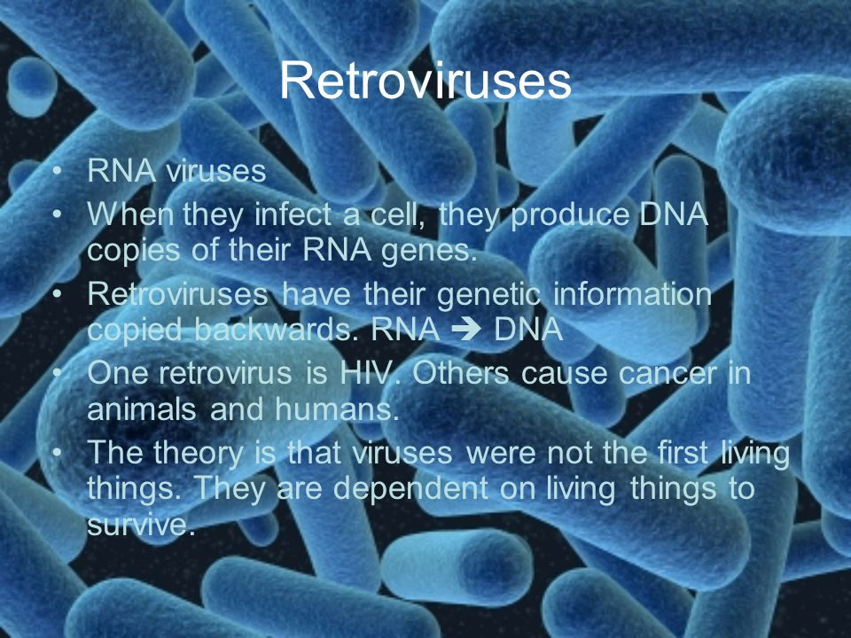 Retroviruses RNA viruses When they infect a cell, they produce DNA copies of their RNA genes. Retroviruses have their genetic information copied backw