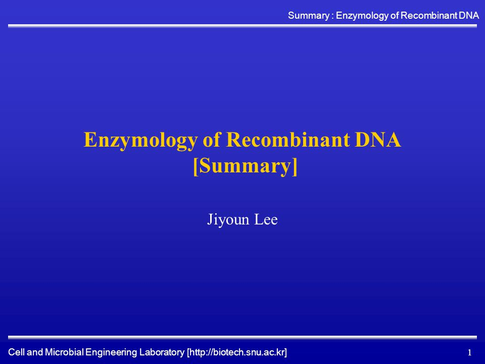 Cell and Microbial Engineering Laboratory [http://biotech.snu.ac.kr] Summary : Enzymology of Recombinant DNA 12 Enzymes that synthesize new DNA and RNA backbone bonds DNA Polymerase I Large fragment DNA polymerase I (Klenow fragment) T4 DNA polymerase Modified T7 DNA polymerase Taq DNA polymerase RNA polymerases –Bacterial RNA polymerase –Bacteriophage RNA polymerase (T3, T7, and SP6) Reverse transcriptase Poly(A) polymerase Terminal deoxynucleotidyl transferase Polynucleotide phosphorylase polymerase transferase