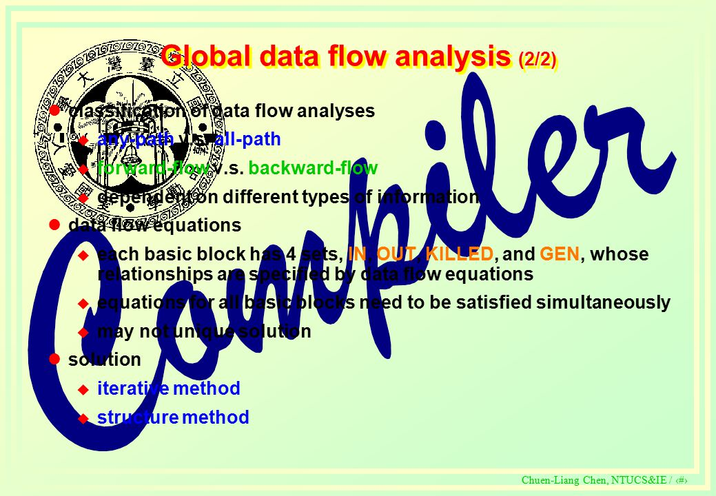 c Chuen-Liang Chen, NTUCS&IE / 332 Global data flow analysis (2/2) classification of data flow analyses  any-path v.s.