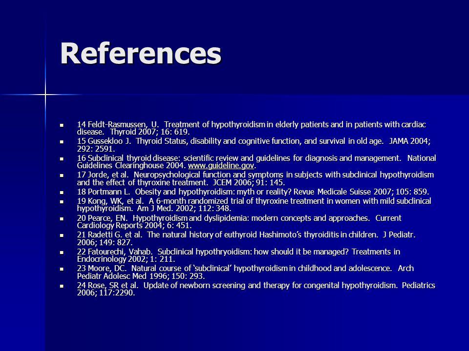 References 14 Feldt-Rasmussen, U. Treatment of hypothyroidism in elderly patients and in patients with cardiac disease. Thyroid 2007; 16: 619. 14 Feld