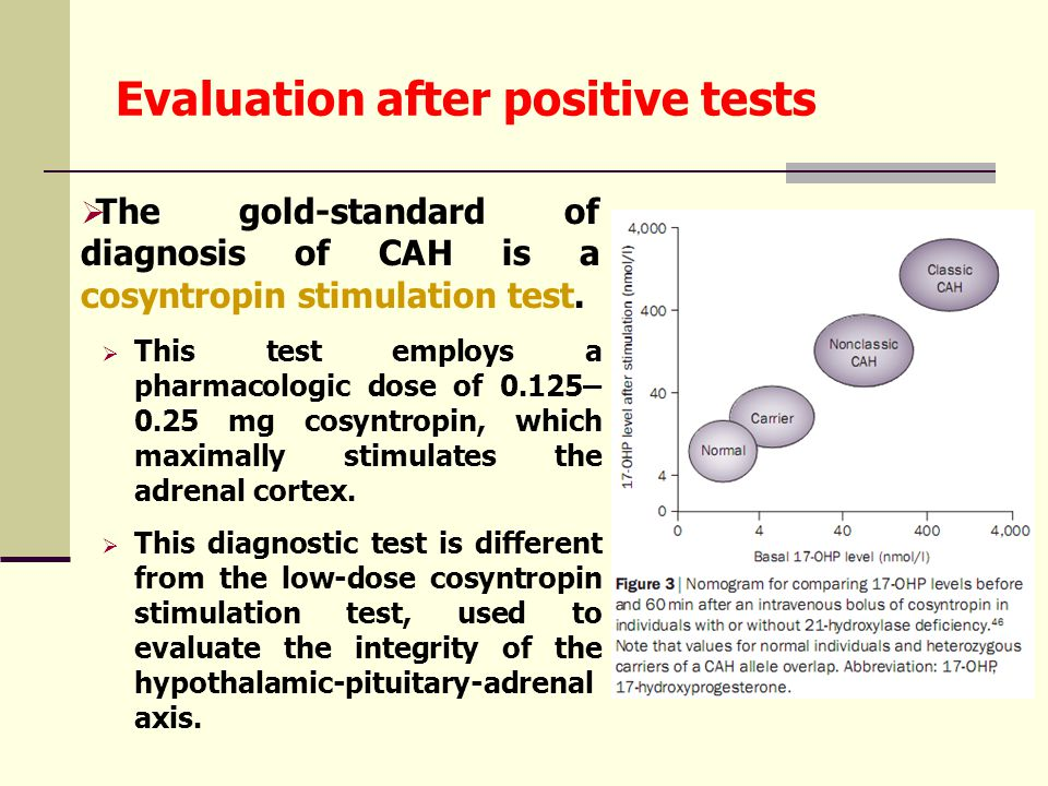 Evaluation after positive tests  The gold-standard of diagnosis of CAH is a cosyntropin stimulation test.