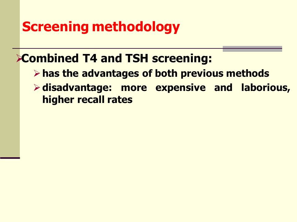 T4 ; T3 ; TSH levels on the first 6 days of life T4 T3 TSH ( μgdl ) ( ngdl ) ( μUml ) 18181818 18 15 12 9 6 3 0 400 300 200 100 0 80 60 40 20 0 T4 T3 TSH 1 2 3 4 5 6